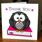 Personalised Pink Owl Teacher / Teaching Assistant Thank You Greeting Card